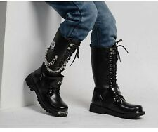 2016 TOP COOL Fashion # BAND ROCK PUNK MEN MALE ARMY Motorcycle boot US 11 12