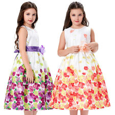 Flower Girl Princess Bridesmaid Wedding Pageant Kids Party Floral Swing Dress .