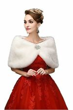 New Warm white ivory Faux Fur Wrap Cape Stole Shawl Shrug For Wedding/Party/Show
