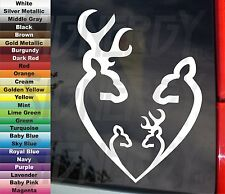 "DEER HUNTER HEART SHAPE FAMILY w 2 KIDS BOY & or GIRL 6.5"" VINYL STICKER DECAL"