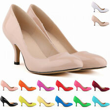 Women Leather High Heels Shoes Ladies Stiletto Round Toe Dress Pump Work Shoes