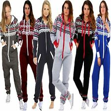 New Ladies Womens Hooded ZIP UP Aztec PRINT Onesie ALL IN ONE Jumpsuit Playsuit