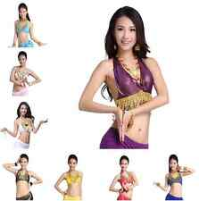 Bollywood Belly Dance Bra Tops Peacock Coins Tribal Dancing Ice Silk Costume Top