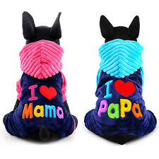 Pet Dog Puppy Clothes Fleece Hooded Coat Jacket I Love Papa/Mama Winter Apparel