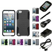 For Apple iPod Touch 5th 6th Gen Hybrid Rugged Impact Hard Soft Case Headphones