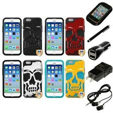 For iPhone 6/6S [4.7] Hybrid Skull Skeleton Impact Hard Soft Case Headphones