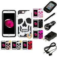 For iPhone 7 Plus [5.5] Hybrid Skull Skeleton Impact Hard Soft Case Headphones