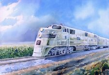 Nebraska Zephyr Train. Burlington Route E5 Silver Pilot. Rail Art Notecards 5x7