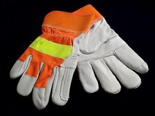 Mens Deerskin Work Gloves North Star Reflective Band YellowWht Thinsulate Lining