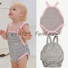 Infant Children Baby Romper suit stripe Creeper Sleeveless Pajamas Jumpsuits