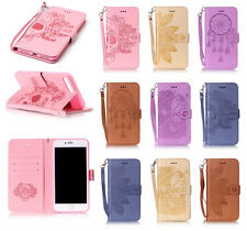 PU Leather Embossing Pattern Magnetic Wallet Stand Cover Case for iPhone Samsung