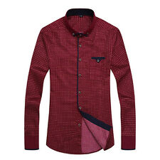 Mens Soft Dots Plaid Pattern Long Sleeves Fitted Casual Shirts Plus Size M-3XL