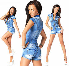 Sexy Women's Denim Light Blue Jeans Hot Pants Playsuit Jumpsuit Overall R 593