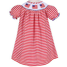Girls Dress Red Striped Smocked American Flags Dress NWT Babeeni Infant Toddler