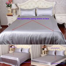 30Momme 100% Pure Silk Duvet Cover Sheets Pillow Cases Seamed Silver Aisilk