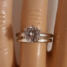 925 Sterling Silver Wedding Ring Set CZ Round Cut Engagement size 4-12 New