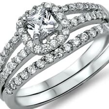 925 Sterling Silver Wedding Ring Set CZ Princess cut Engagement Size 7 New z3