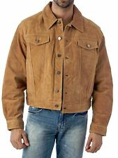 Western Jean Style Suede Leather Shirt Jacket- Reed Since 1950 Premium Label