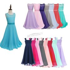 Flower Girl Kids Tulle Dress Straps Party Pageant Wedding Bridesmaid Long Gown