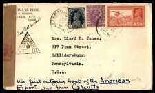 India to US Hollidaysburg PA 1941 Censored WWII Cover