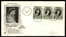 Dominica Coronation Strip of 3 on Art Craft Cacheted FDC 1953