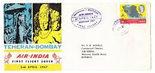 Teheran to Bombay India 1967 Boeing 707 Air India First Flight Cover