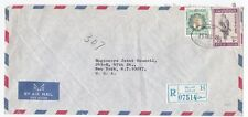 Kuwait Safat to US New York 1972 Registered Airmail cover 50 Fils Hawk