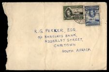 Gold Coast Accra to South Africa Capetown 1950s 2 color Franking ON cover