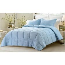 Oversize 3 Pc Reversible Solid/Striped Comforter Set Blue Twin Full Queen King