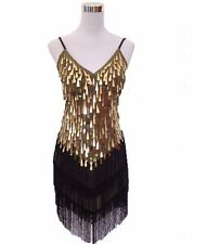 Shining V Neck Stage Clothing Full Sequined Fringe Mini Party Slip Dress