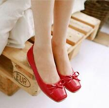 Chic Candy sweet Womens Girls Casual Square Toe Bowties Loafers Shoes low heel