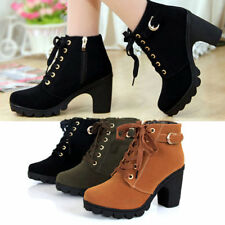 Girl Women High Top Heel Lace Up Buckle Ankle Boots Winter Pumps Suede Shoes DE