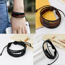 Vintage Unisex Multilayer Leather Wristband Bracelet Cuff Charm Bangle Hots vf