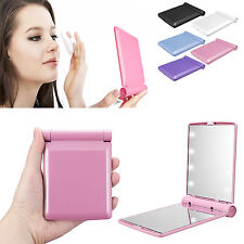 Folding Pocket Mirror Cosmetic Compact with 8 LED Lights Lamps Makeup Portable