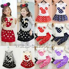 Kids Baby Girls Minnie T-shirts Tops Pants Dress Tracksuit Outwear Outfits Set