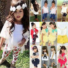 Kids Baby Girls Outfits Set Clothes T-shirt Blouse Top Dress+Pants Leggings 2-7Y
