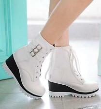 NEW Womens punk Platform wedge heels lace-up buckles ankle boots Hi Top shoes sz