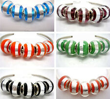 Fashion Round Foil Lampwork Glass Big Hole Beads Fit European Charm Bracelet