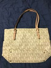 MICHAEL KORS MK Signature Jet Set PVC East West TZ Tote Bag Purse Vanilla