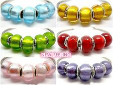 Fashion Full Foil Lampwork Glass Big Hole Beads Fit European Charm Bracelet