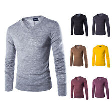 New Men's Casual Pullover Knit Shirt V-neck Sweater Long Sleeve Sweatshirt  p13