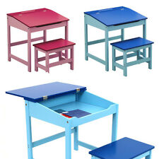 School Desk & Bench 2Pcs Set Small Kids Table with Storage & Seat Childrens Desk