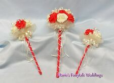WEDDING FLOWERS BRIDESMAID FLOWER GIRL WAND BOUQUET PACKAGE CORAL FOAM ROSES