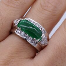Unique Green Jade Crystal Ring 18K White Gold Plated Zircon Ring Size 6/7/8/9