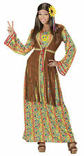 Ladies Hippie Costume 60s 70s Hippy Woman Plus Size Dress + Fringed Vest L/XL