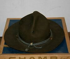 VINTAGE CLAYPOOLE GREEN HAWK TROOPER STYLE CHAMP HAT SIZE 7 BOY SCOUT DRILL SARG