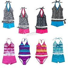 Girls Kids 2 Piece Halter Tankini Swimwear Bathers Swimmers Swimsuit Size 2-16Y