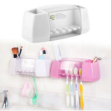 Plastic Bathroom 5 Set Toothbrush Tooth Paste Stand Holder Storage Rack Box XP