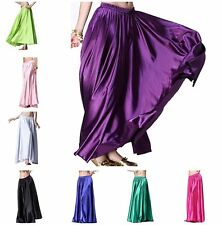 Belly Dance Satin Skirt Full Circle Long Sexy Dancing Costume Maxi Skirt Dresses
