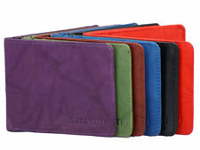 NEW Mens Leather wallet ❂ SLIM ❂ THIN ❂ Real Leather ❂ Bifold ❂ 6 card slots ❂